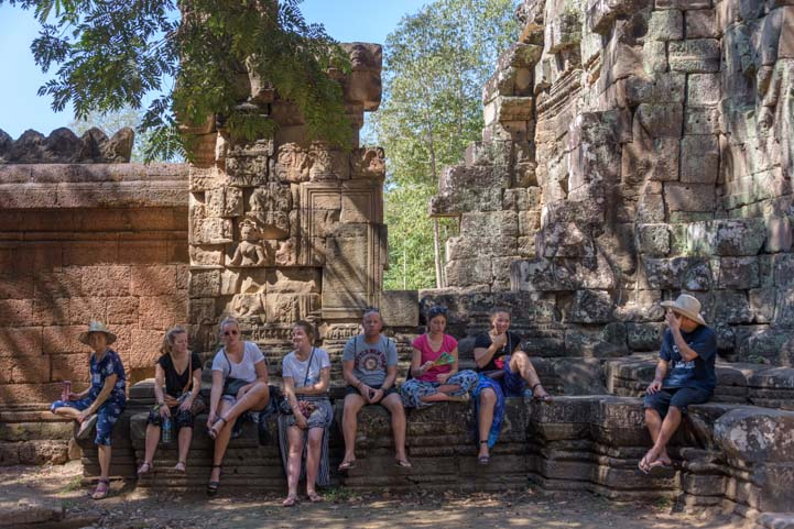 Resting at Ta Prohm Angkor Siem Reap Cambodia