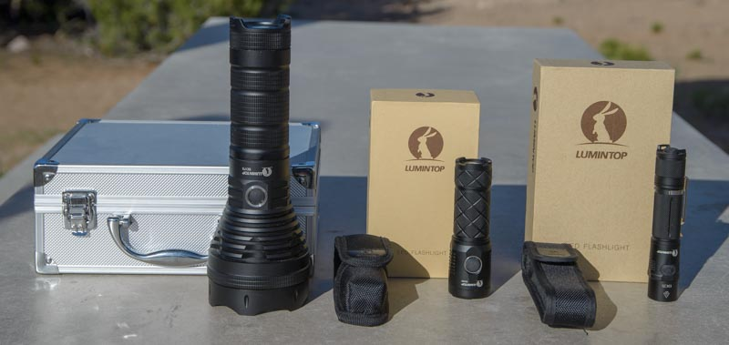 Lumintop SD75 flashlight Lumintop EDC25 flashlight and Lumintop SD26 flashlight with shipping containers
