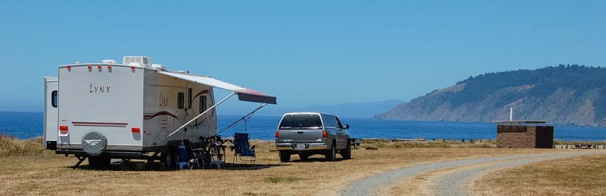 RV camping on the California coast