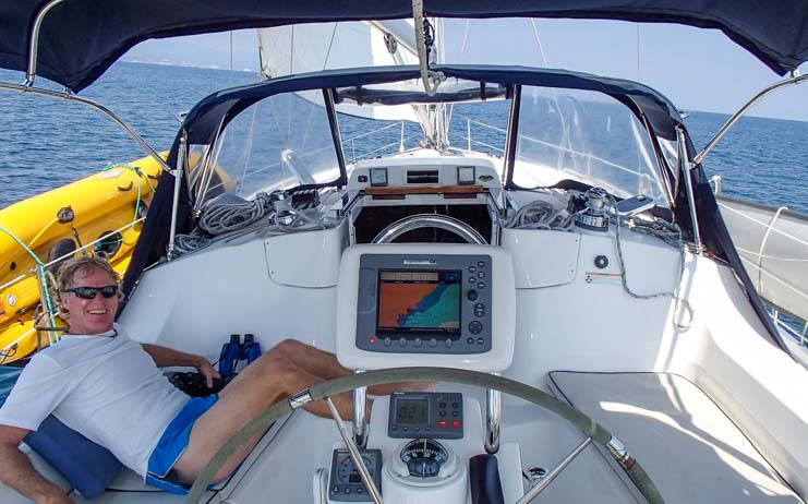 View from the helm Hunter 44DS sailboat Groovy