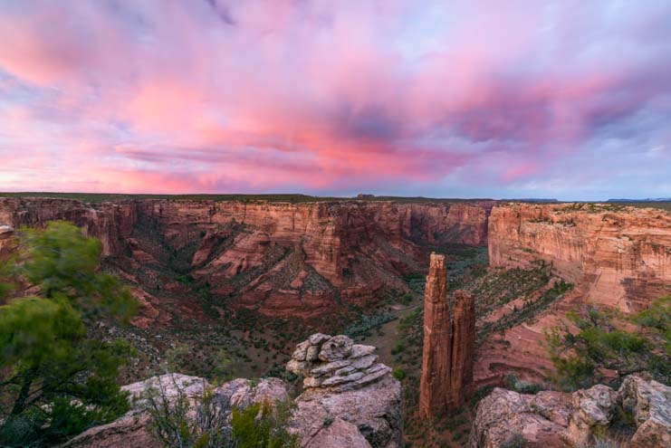 Pink sunset Spider Rock Canyon de Chelly National Monument Arizona
