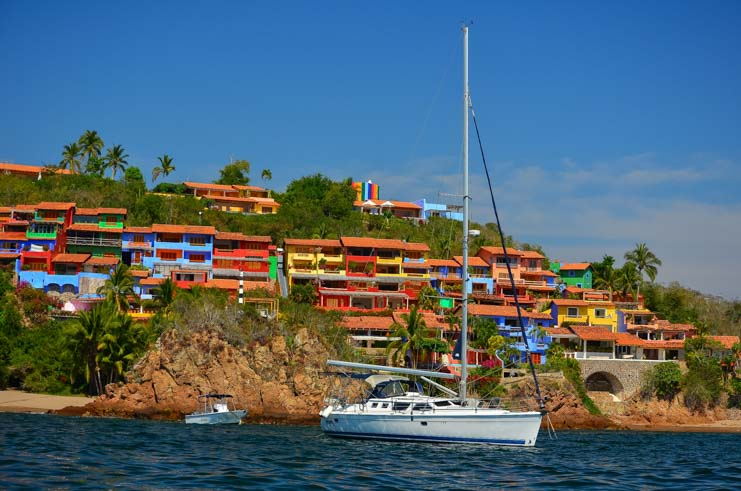 Sailboat anchored in Careyes Bay Costalegre Mexico