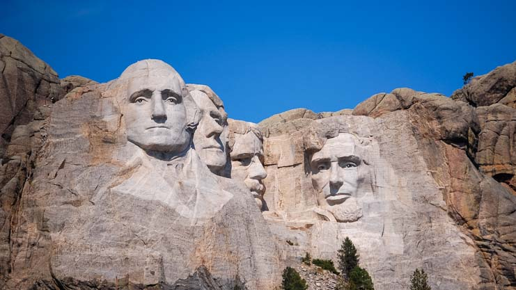 Mt. Rushmore National Park Presidents heads from scenic viewpoint RV rest area