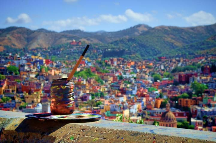 Colorful hillsides in Guanajuato Mexico
