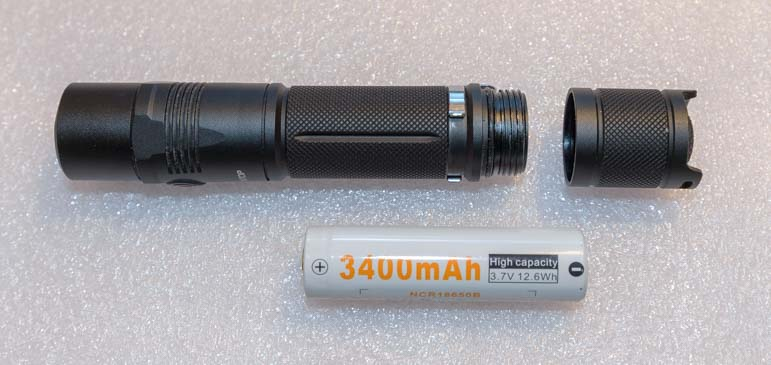 Lumintop EDC25 1000 lumen flashlight and 3400 mAh rechargeable lithium-ion battery