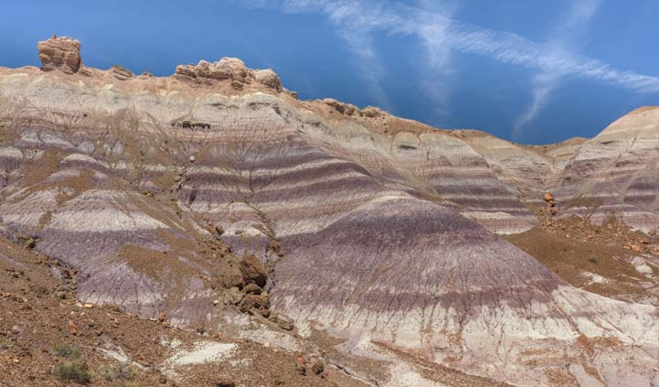 Purple striations at Blue Mesa Trail Petrified Forest National Park Arizona