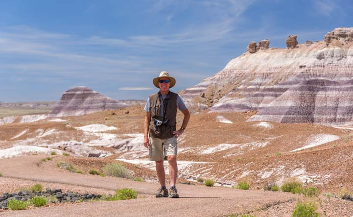 Hiker Blue Mesa Trail Petrified Forest National Park Arizona