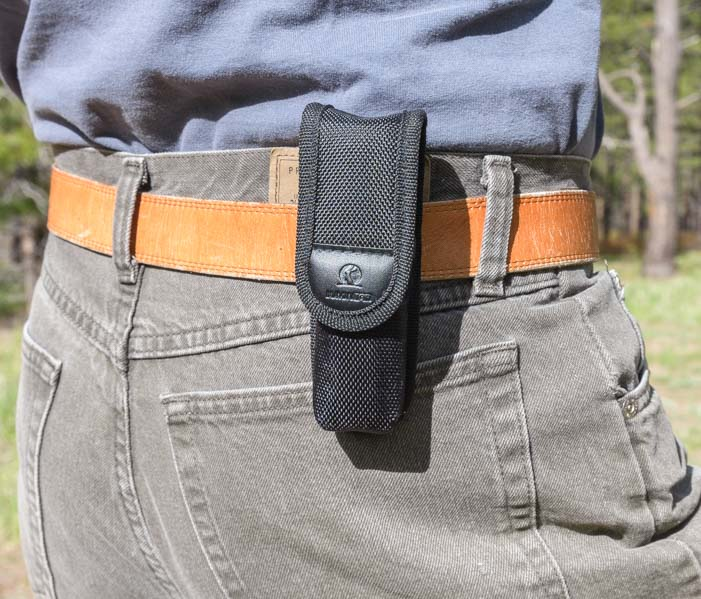 Lumintop SD26 1000 lumen flashlight in a belt holster