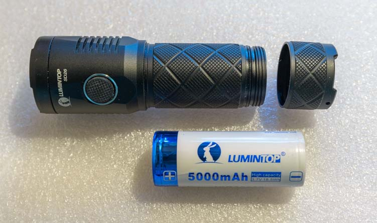Lumintop SD26 1000 lumen flashlight and 5000 mAh rechargeable lithium-ion battery