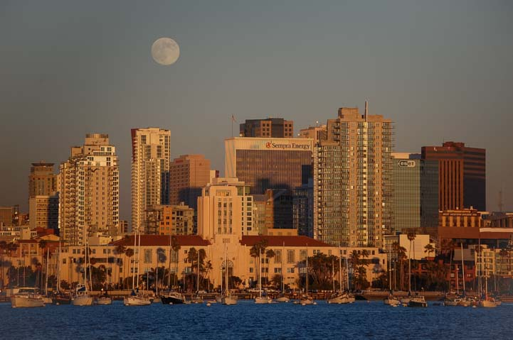 San Diego under full moon from sailboat in San Diego Bay
