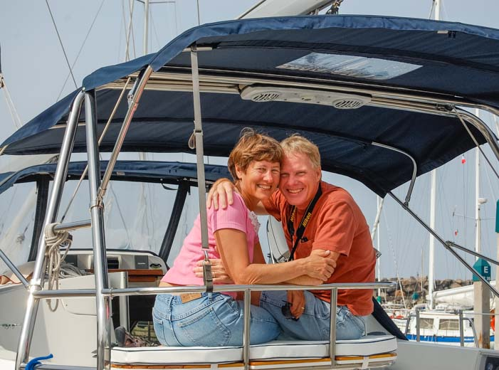Happy sailors aboard Hunter 44DS sailboat Groovy