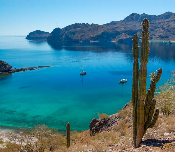 Agua Verde anchorage with sailboats Sea of Cortez Baja California Mexico