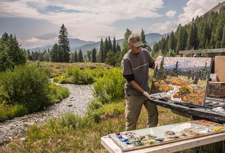 Plein Air painting Sawtooth National Forest Idaho