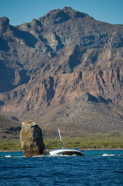 Sailboat crashed into rock Baja California Sea of Cortez Mexico