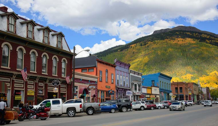 Silverton Colorado in peak fall color