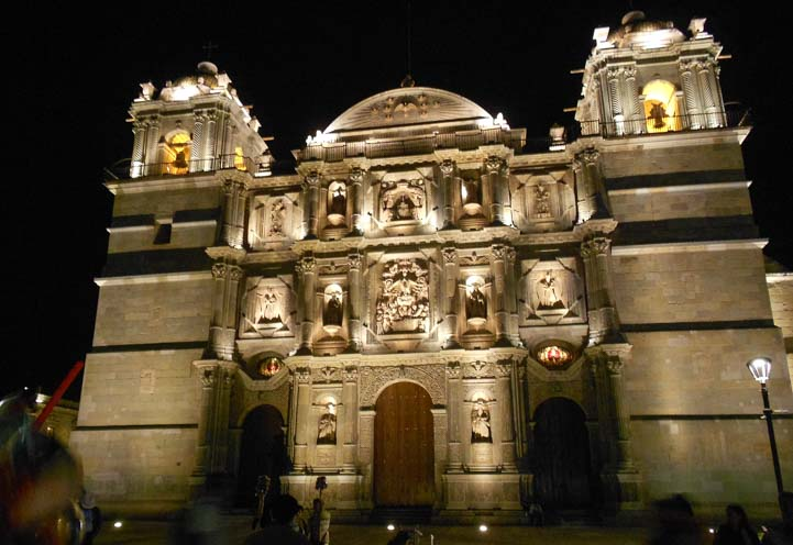 Cathedral at night Oaxaca Mexico Our Lady of Assumption