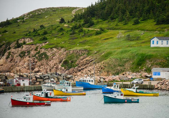 Lobster boats in White Point on the Cabot Trail on Cape Breton Island RV trip