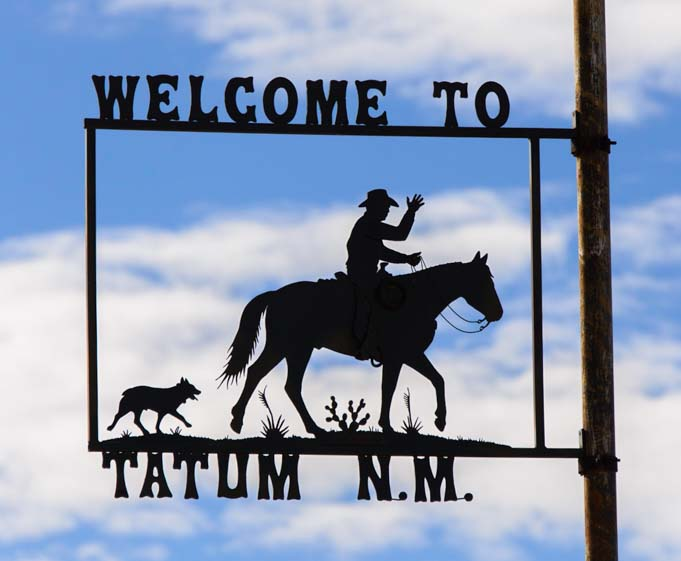 Tatum New Mexico metal art seen on RV trip