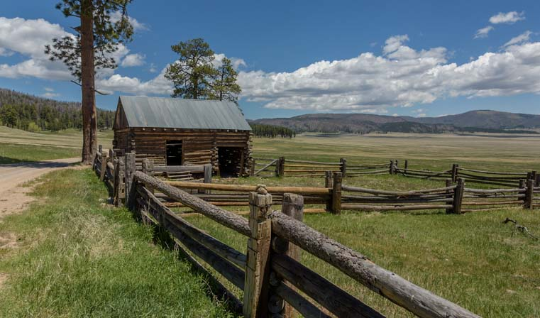 Buildings and fences at Valles Caldera National Preserve New Mexico