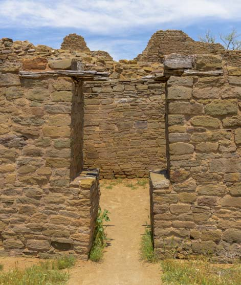T-shaped doorway Aztec Ruins National Monument New Mexico