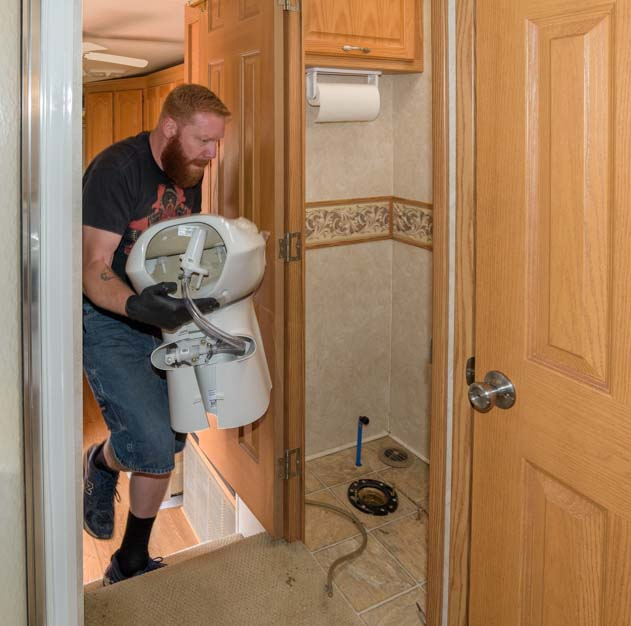 Installing new RV toilet in a fifth wheel trailer