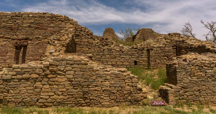 Brick wall construction Aztec Ruins National Monument New Mexico