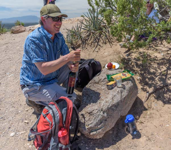 A picnic and wine at Tent Rocks National Monument New Mexico