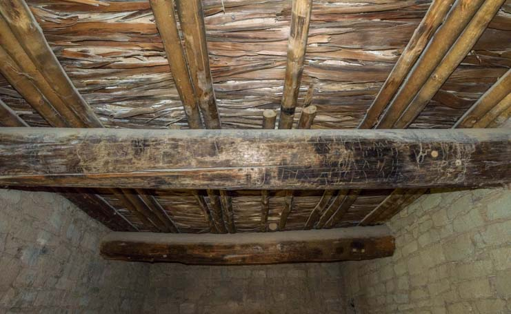 Original ceiling beams Aztec Ruins National Monument New Mexico