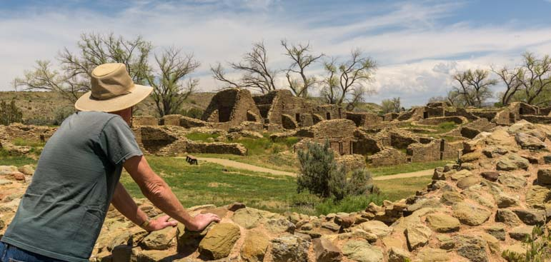 Looking at Aztec Ruins National Monument New Mexico
