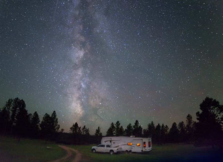 Milky Way with RV boondocking in Black Hills National Forest South Dakota