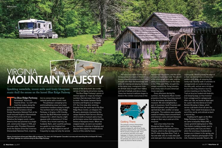 Virginia Mountain Majesty article by Emily and Mark Fagan in Motorhome Magazine July 2017