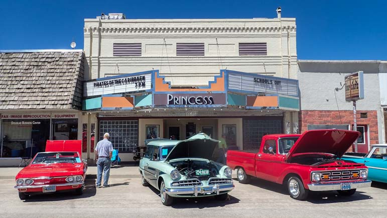 Knight Kruiser's Car Show in Douglas Wyoming in front of Princess Theater