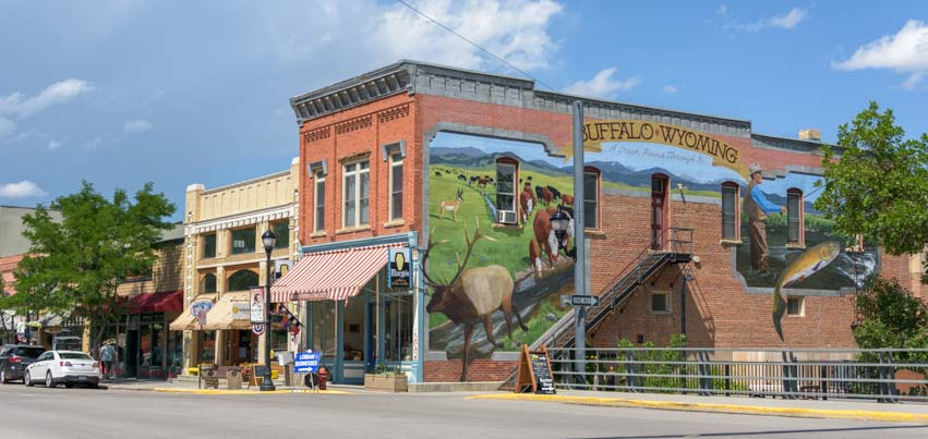Buffalo Wyoming downtown mural on brick building