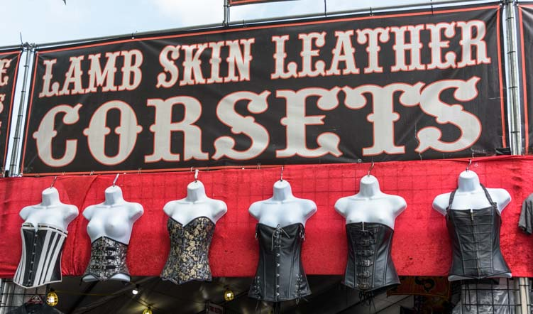 Skin tight leather corsets Sturgis Motorcycle Rally South Dakota