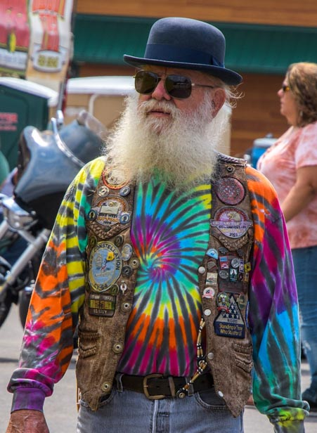 Tie-dye hippie Sturgis Motorcycle Rally South Dakota