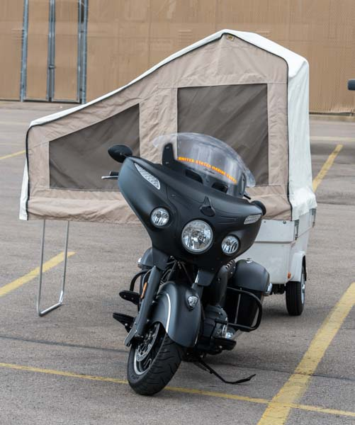 Motorcycle popup tent trailer Sturgis Motorcycle Rally South Dakota