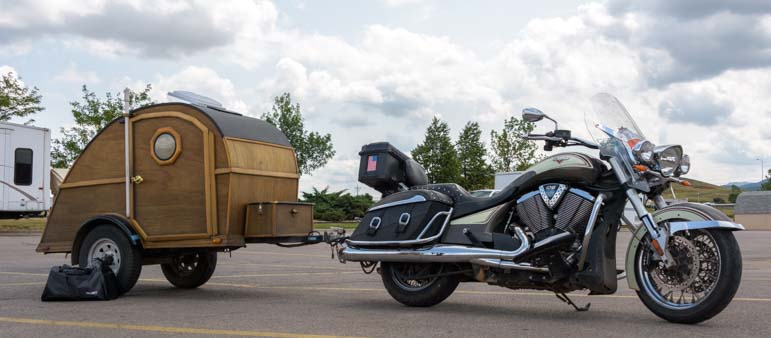 Custom motorcycle travel trailer Sturgis Motorcycle Rally South Dakota