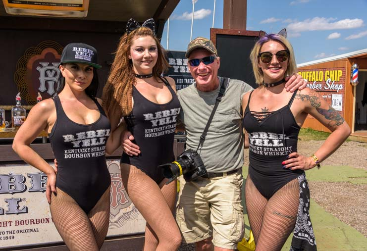 Rebel Yell Kentucky Bourbon Whiskey babes Sturgis Motorcycle Rally South Dakota