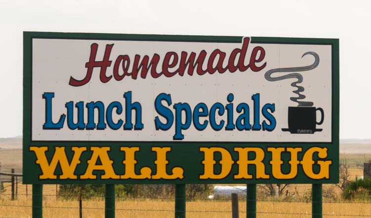 Homemade Lunch Specials Wall Drug Store Sign Wall South Dakota