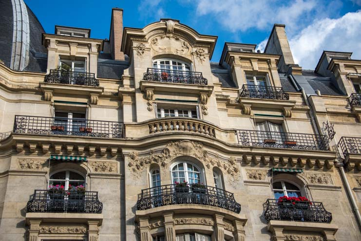 Ornate building streets of Paris