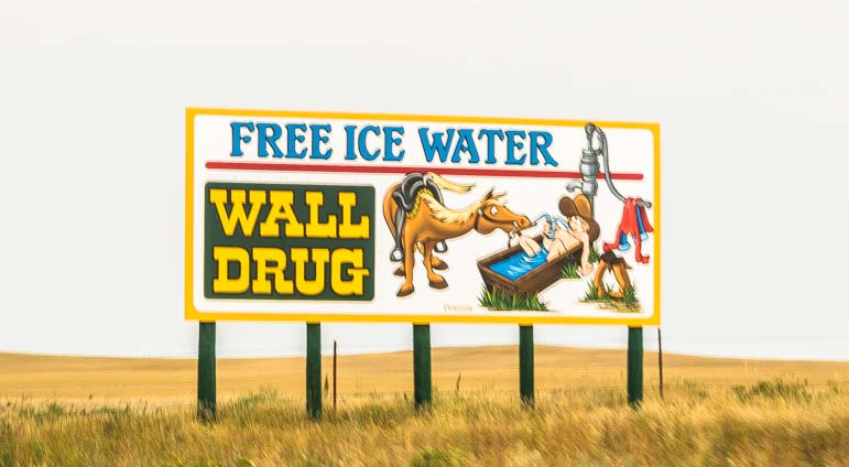 Wall drug sign for free ice water Wall South Dakota