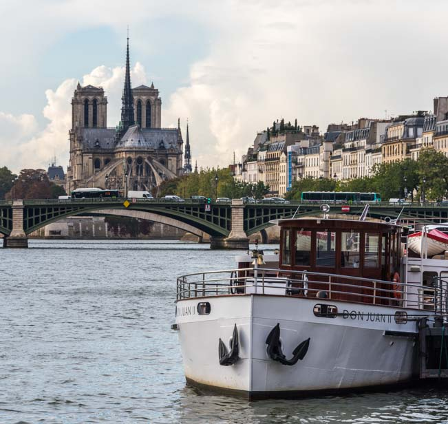 Notre Dame Cathedral on the Seine River Paris