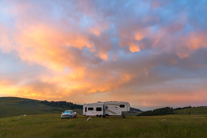 RV boondocking and camping in Wyoming