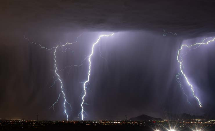 Lightning over Las Vegas Nevada