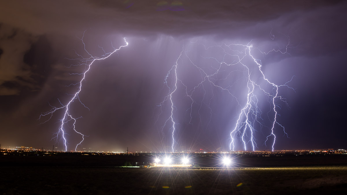 Lightning storm over Las Vegas Nevada