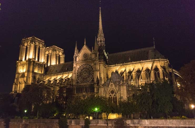 Notre Dame Cathedral at night Paris France-min
