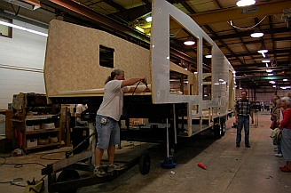 Walls being installed on a fifth wheel NuWa Industries