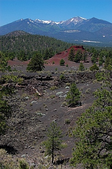 San Francisco peaks and Sunset Crater lava flow in Flagstaff AZ
