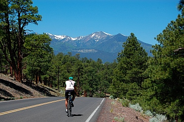 Bicycling - San Francisco Peaks near Bonito Campground at Sunset Crater outside Flagstaff, Arizona