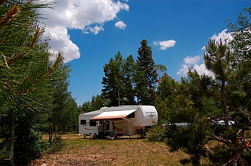 Boondocking in our RV, Kaibab National Forest near the North Rim of the Grand Canyon AZ